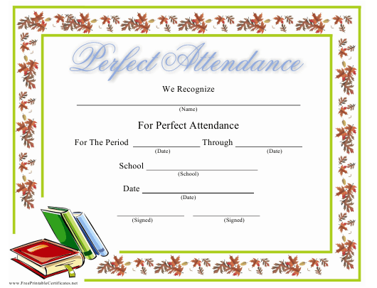 """""""Perfect Attendance Certifcate Template"""" Download Pdf"""