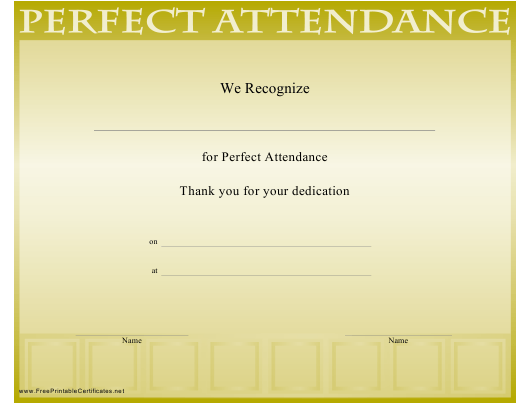 Perfect Attendance Certificate Template Download Printable Pdf