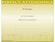 """Perfect Attendance Certificate Template"""