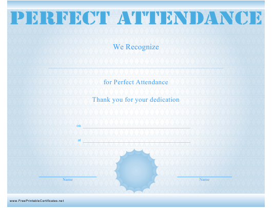 picture regarding Perfect Attendance Certificate Printable known as Fantastic Attendance Certification Template Down load Printable
