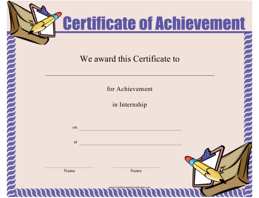 """Certificate of Achievement Template"" Download Pdf"