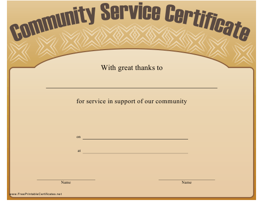 community service certificate template download pdf - Community Service Hours Certificate Template