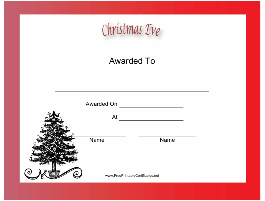 """Christmas Eve Holiday Certificate Template"" Download Pdf"