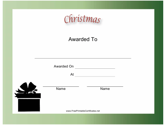 """""""Christmas Holiday Certificate Template"""" Download Pdf"""