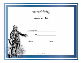 """Washington's Birthday Holiday Certificate Template"""