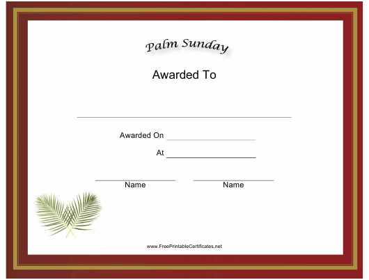 """""""Palm Sunday Holiday Certificate Template"""" Download Pdf"""