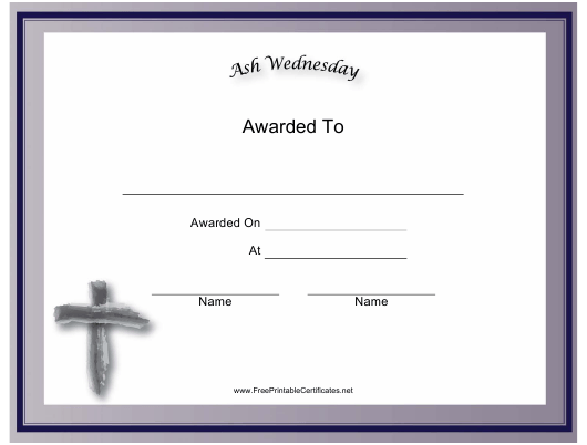 """""""Ash Wednesday Holiday Certificate Template"""" Download Pdf"""