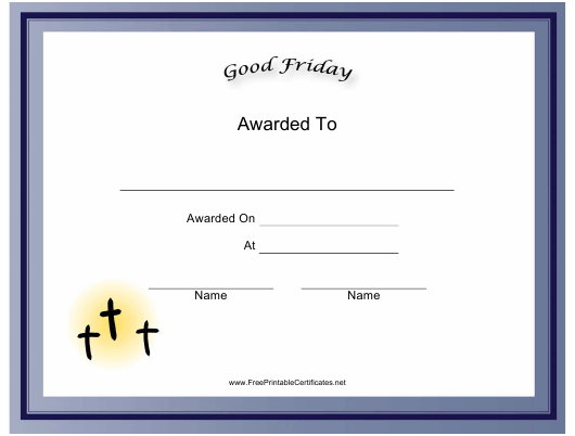 """""""Good Friday Holiday Certificate Template"""" Download Pdf"""