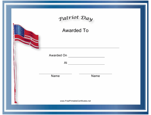"""Patriot Day Holiday Certificate Template"" Download Pdf"