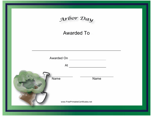 """Arbor Day Holiday Certificate Template"" Download Pdf"