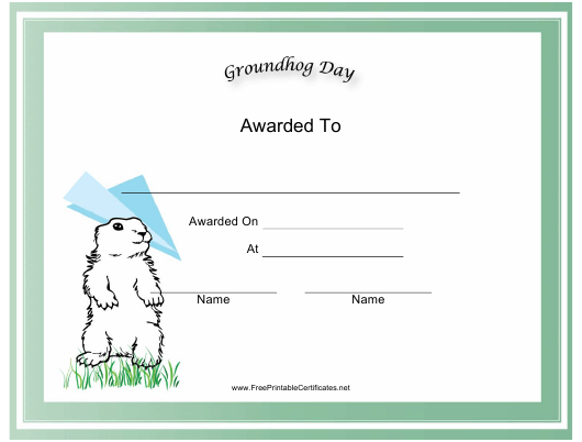 """""""Groundhog Day Holiday Certificate Template"""" Download Pdf"""
