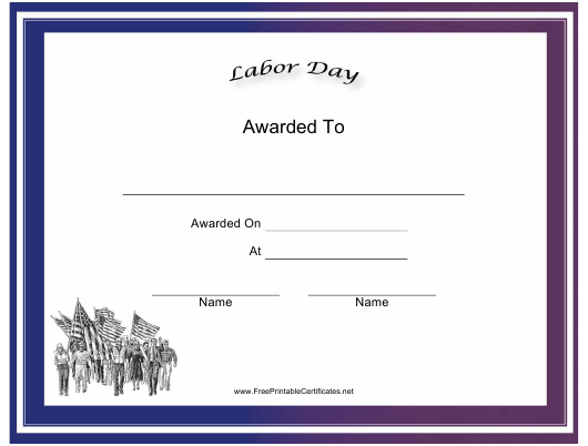 """""""Labor Day Holiday Certificate Template"""" Download Pdf"""