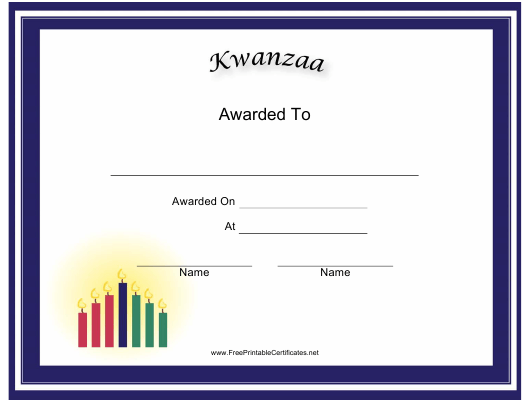 """""""Kwanzaa Holiday Certificate Template"""" Download Pdf"""