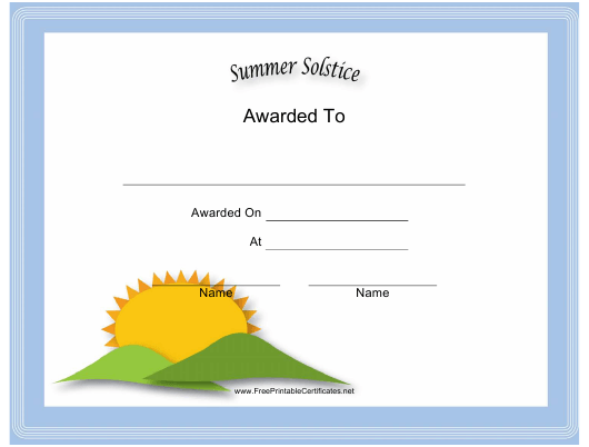 """Summer Solstice Holiday Certificate Template"" Download Pdf"