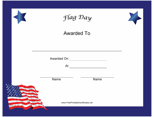 """""""Flag Day Holiday Certificate Template"""" Download Pdf"""