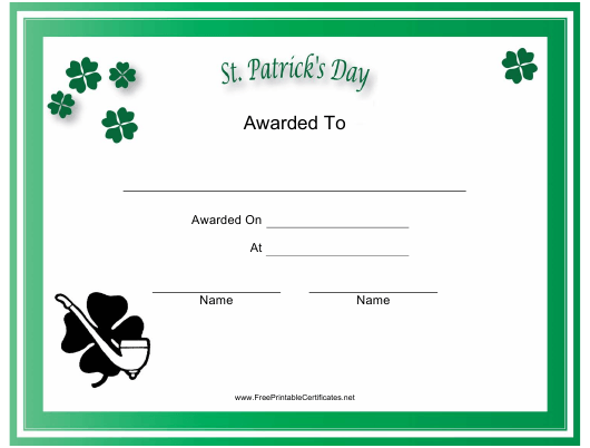 """""""St. Patrick's Day Holiday Certificate Template"""" Download Pdf"""