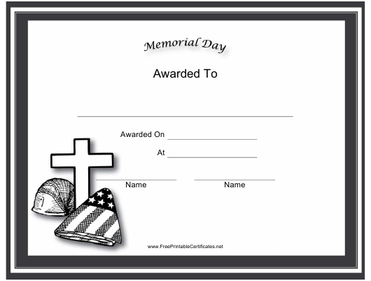 """""""Memorial Day Holiday Certificate Template"""" Download Pdf"""