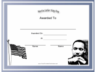 """""""Martin Luther King Day Holiday Certificate Template"""""""