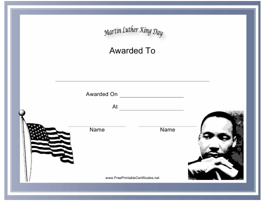 """""""Martin Luther King Day Holiday Certificate Template"""" Download Pdf"""