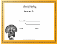 """""""Thanksgiving Day Holiday Certificate Template"""""""