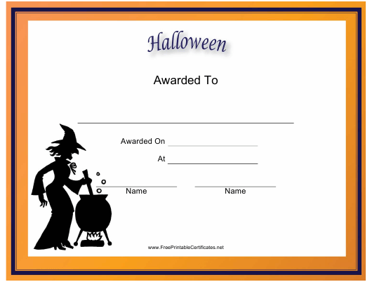 """""""Halloween Holiday Certificate Template"""" Download Pdf"""