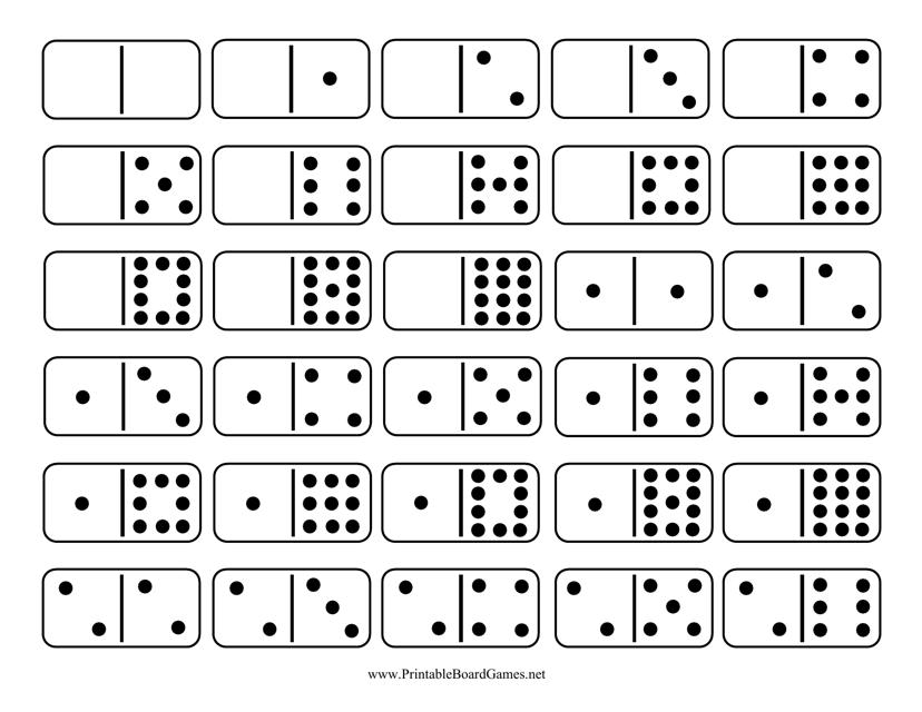 """Domino Game Template - Double-Twelve Set"" Download Pdf"