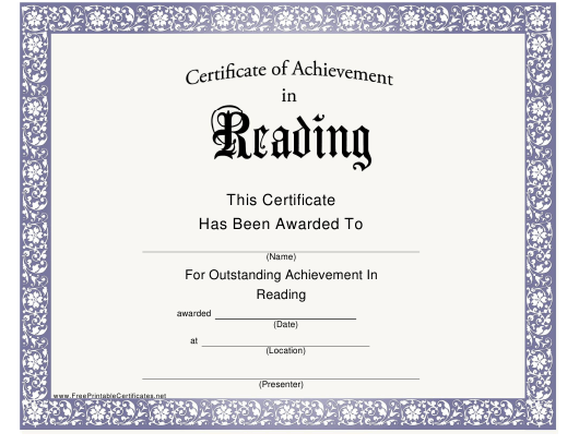 """Certificate of Achievement in Reading Template"" Download Pdf"