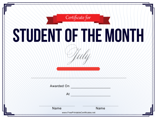 """""""Student of the Month Certificate Template - July"""" Download Pdf"""