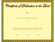 """Dedication to the Lord Certificate Template"""