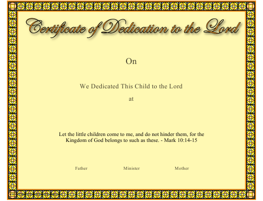 """""""Dedication to the Lord Certificate Template"""" Download Pdf"""