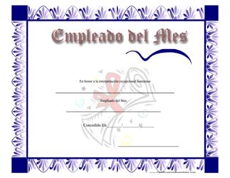 """""""Certificado De Empleado Del Mes"""" (Spanish)"""