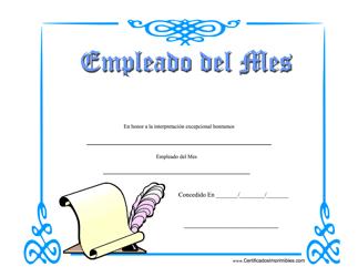 """""""Empleado Del Mes Certificado"""" (Spanish)"""