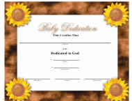 """Baby Dedication Certificate Template - Brown Background"""