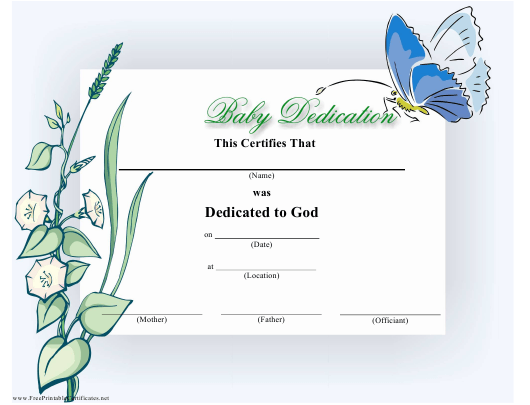 """Baby Dedication Certificate Template"" Download Pdf"