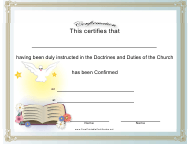"""Doctrines and Duties of the Church Confirmation Certificate Template"""