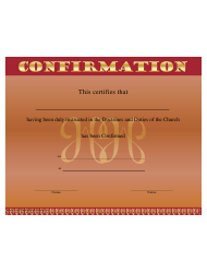Doctrines And Duties Of The Church Confirmation Certificate Template