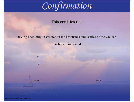 """""""Doctrines and Duties of the Church Confirmation Certificate Template"""" Download Pdf"""
