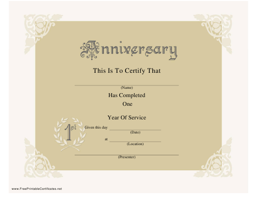 1 Year Anniversary Certificate Template Download Printable Pdf