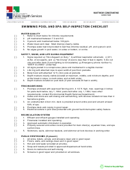 """""""Swimming Pool and Spa Self-inspection Checklist"""" - Kern County, California"""