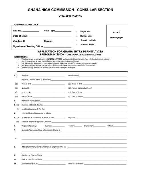 """Application for Ghana Entry Permit/Visa - Ghana High Commission"" - Pretoria, Gauteng, South Africa Download Pdf"
