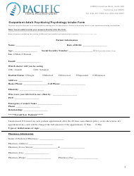 """Outpatient Adult Psychiatry/Psychology Intake Form - Pacific Pain & Wellness Group"""