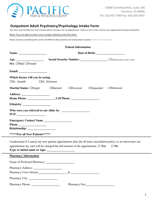 """""""Outpatient Adult Psychiatry/Psychology Intake Form - Pacific Pain & Wellness Group"""" Download Pdf"""