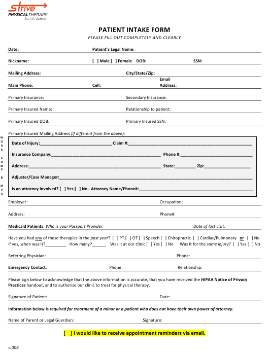 """Patient Intake Form - Strive Physical Therapy"" Download Pdf"