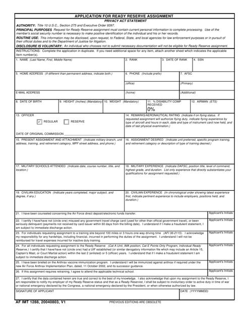 AF IMT Form 1288 Fillable Pdf