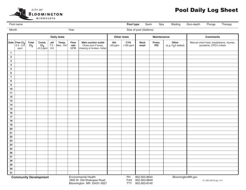 """Pool Daily Log Sheet"" - City of Bloomington, Minnesota Download Pdf"