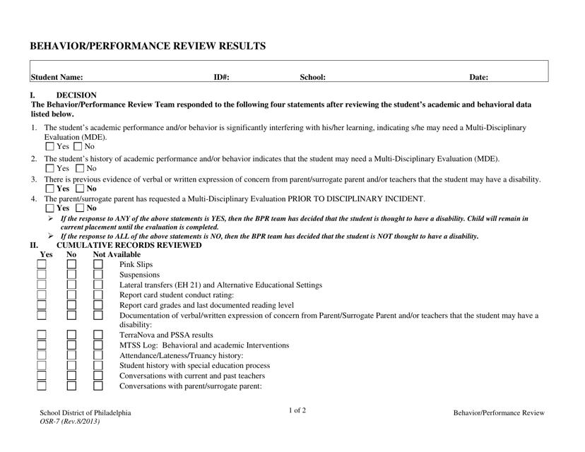 """Behavior/Performance Review Results Form - School District of Philadelphia"" Download Pdf"