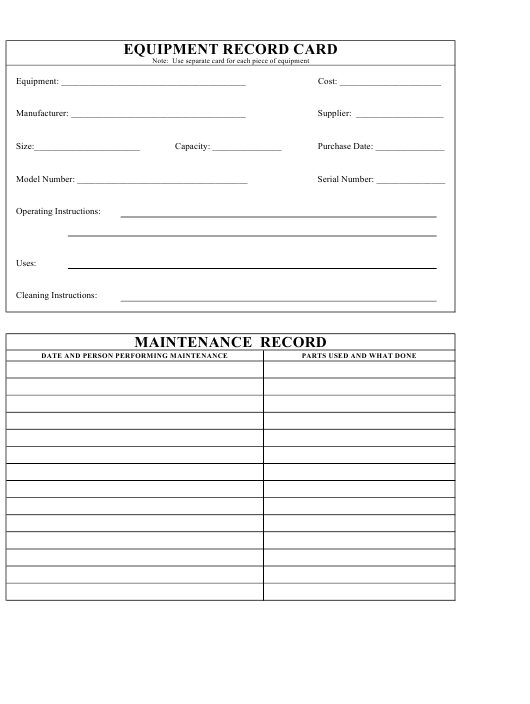 """""""Equipment Record Card and Maintenance Log Template"""" Download Pdf"""