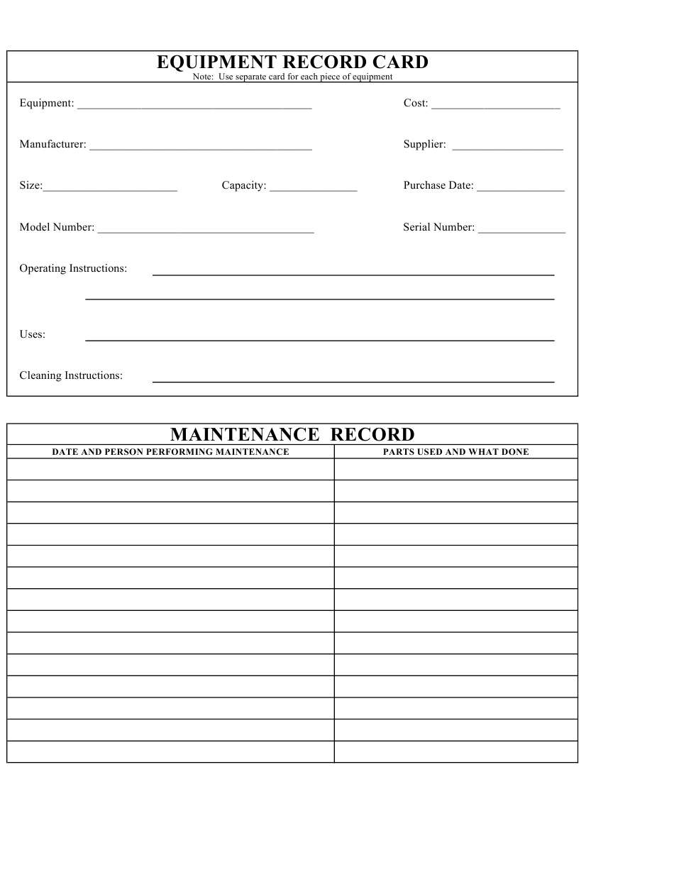 Equipment Record Card And Maintenance Log Template Download Printable Pdf Templateroller