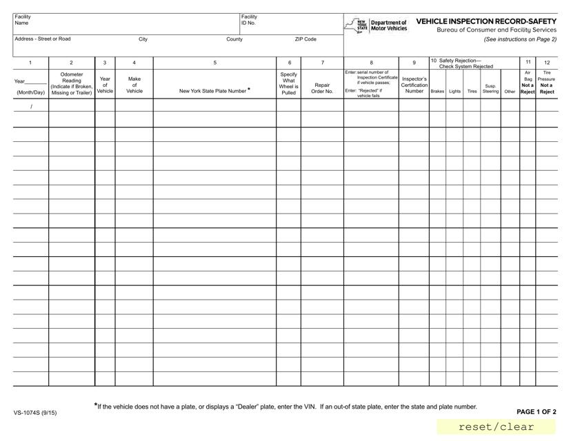 Form VS-1074S Printable Pdf