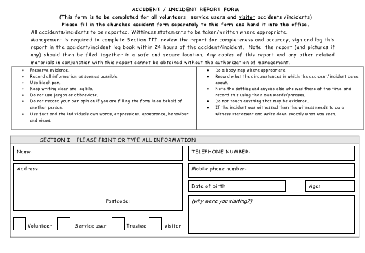 """Accident/Incident Report Form"" Download Pdf"